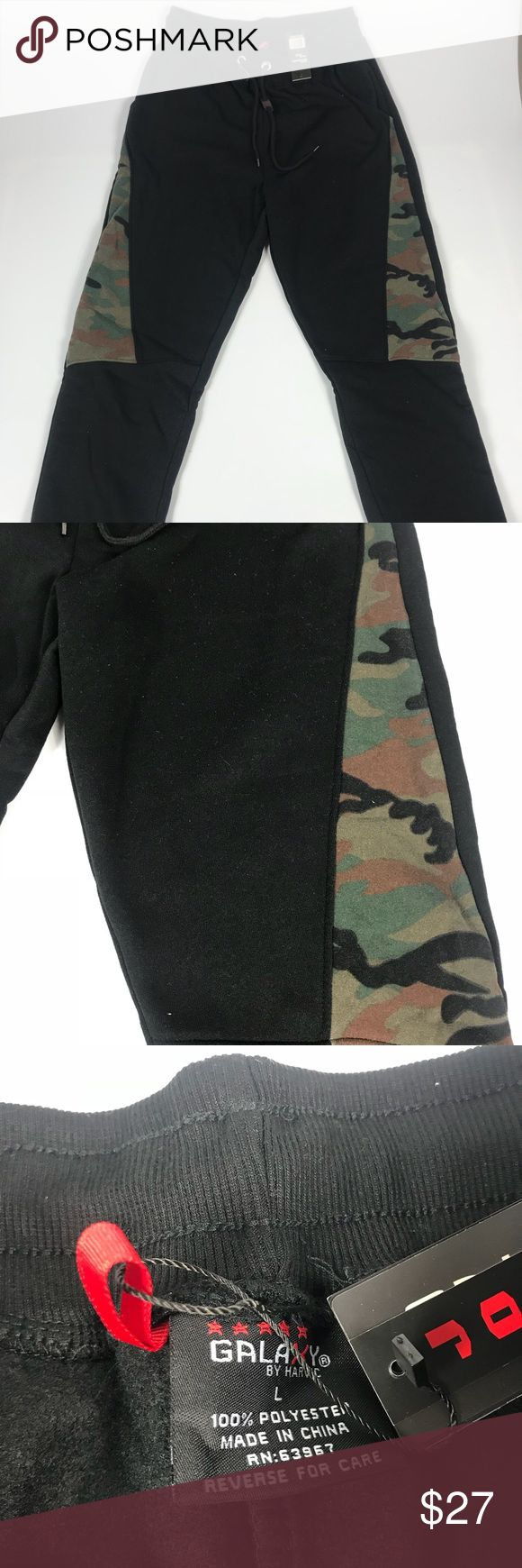 Men's Camouflage Jogger Sweat Pants Large These pants are in new condition & have been stored in a smoke free home.  Adult size Large. Slim fit. 100% Polyester Made with warm & heavyweight Fleece. Galaxy Pants Sweatpants & Joggers