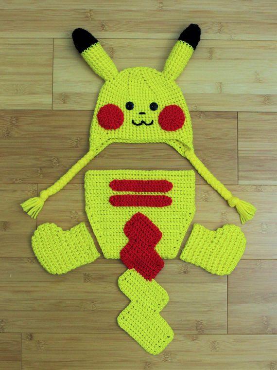 Crochet Pikachu hat diaper cover set. Pokemon hat by CrochetBySumy