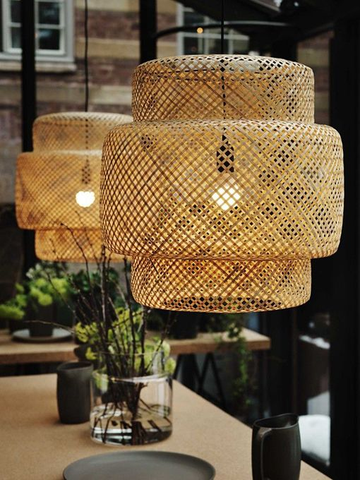 Decorar con lámparas de fibras naturales / IKEA