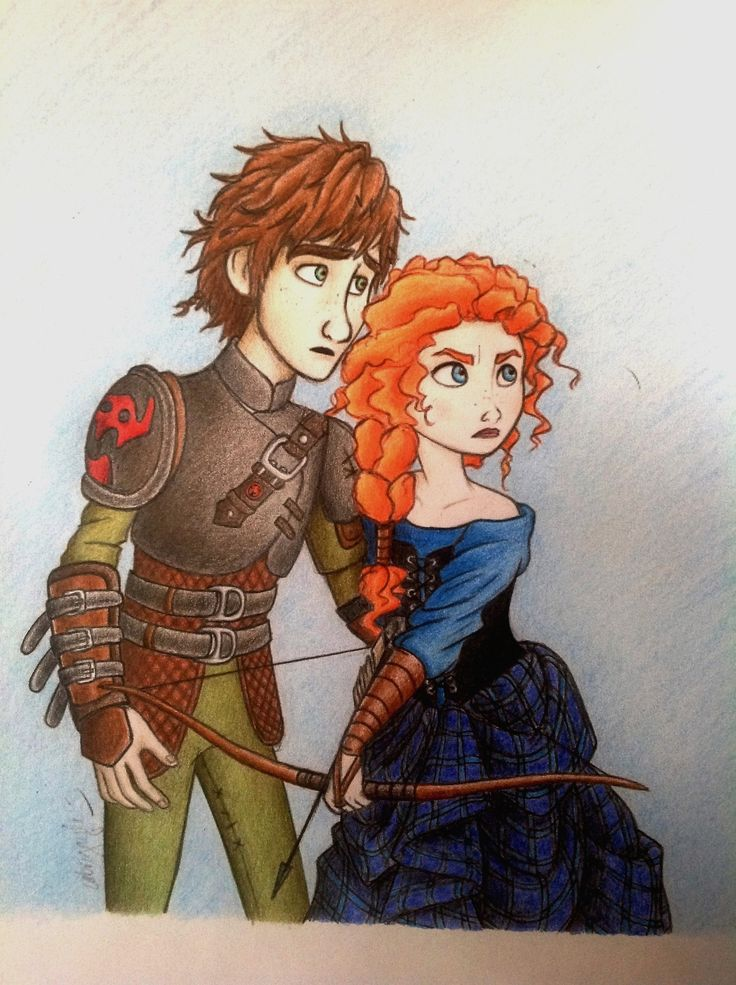 Hiccup and Merida. Is this a new thing? I don't care. I ship it. Dreamworks how to train your dragon Brave Disney Princess