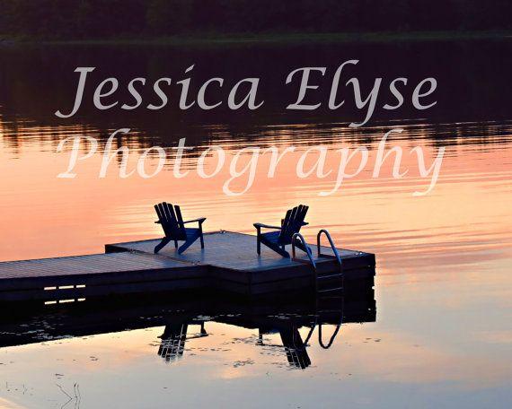 Muskoka chairs overlooking the lake at by jessicaelysephotos, $30.00