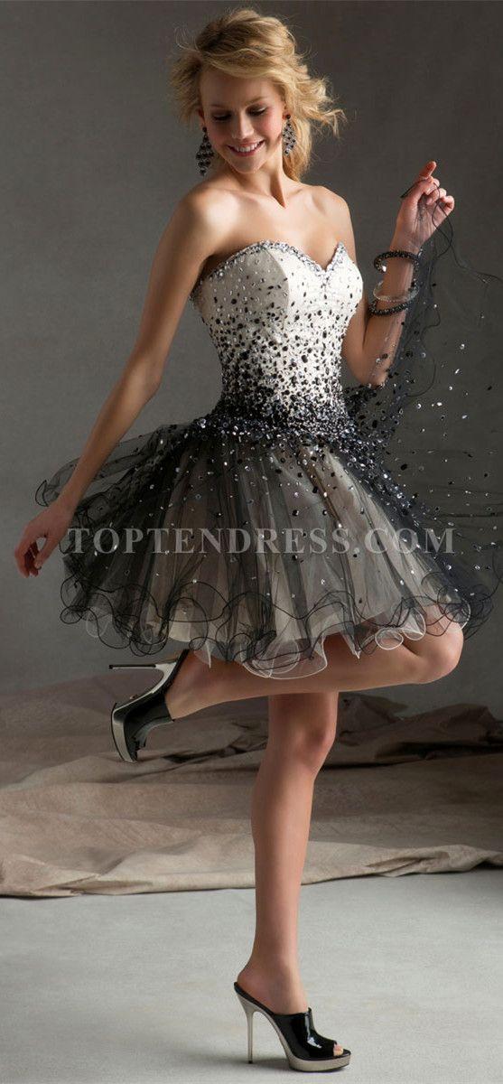 Princess Tulle Sweetheart Natural Waist Short/Mini Length Beading Prom Dress