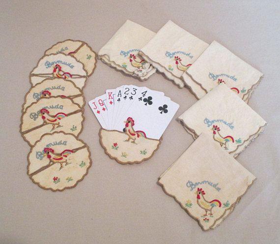 Card Protectors or Wine Glass Slipper Coasters Vintage Bridge