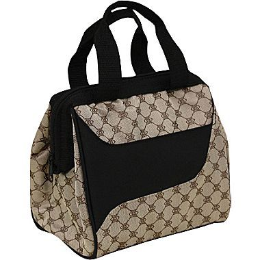 Fit & Fresh Downtown Insulated Designer Lunch Bag with Ice Pack - Cocoa
