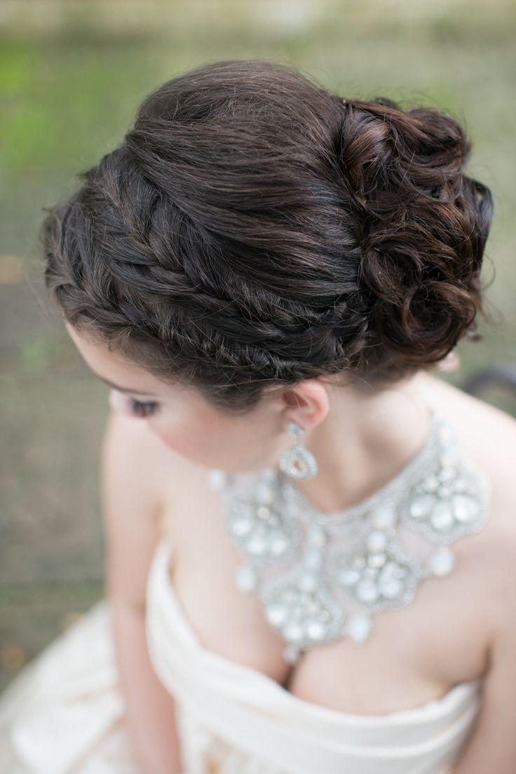 Braided updo. Tin of M3 Beauty  Read more - http://www.stylemepretty.com/florida-weddings/maitland-florida/2014/01/06/romantic-glamour-inspiration-shoot-at-maitland-art-center/