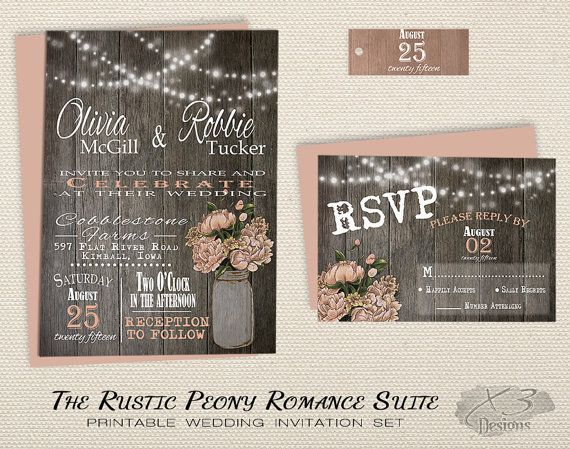 Mason Jar Wedding Invitations Printable, Rustic Wedding Invitation, String Lights w/ Peach Peonies in Mason Jar on wood, Country wedding by X3designs
