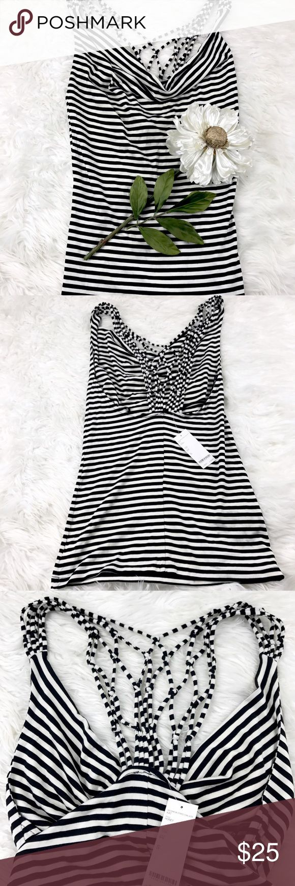 "💕SALE💕Bebe Black & White Striped Strappy Top Adorable 💕NWT Bebe Black & White Striped Strappy Top  25"" from the top of the shoulder to the bottom bebe Tops"