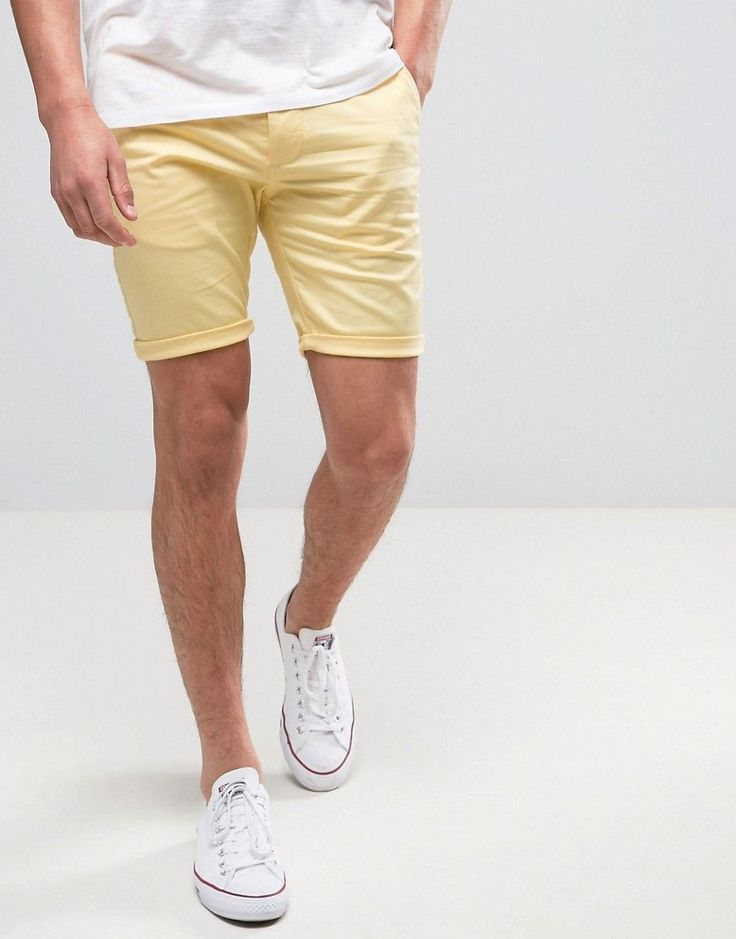 ASOS Skinny Shorts in Yellow - Yellow