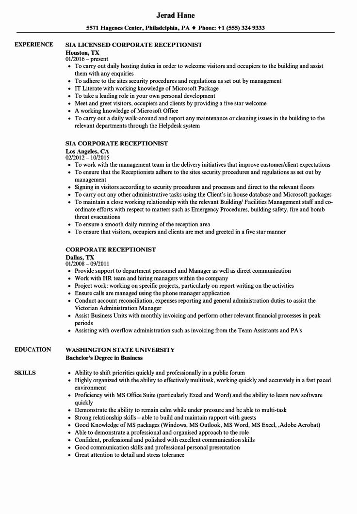 Medical receptionist resume examples fresh receptionist