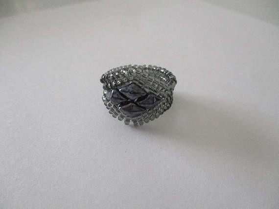 Diamond duo herringbone ring