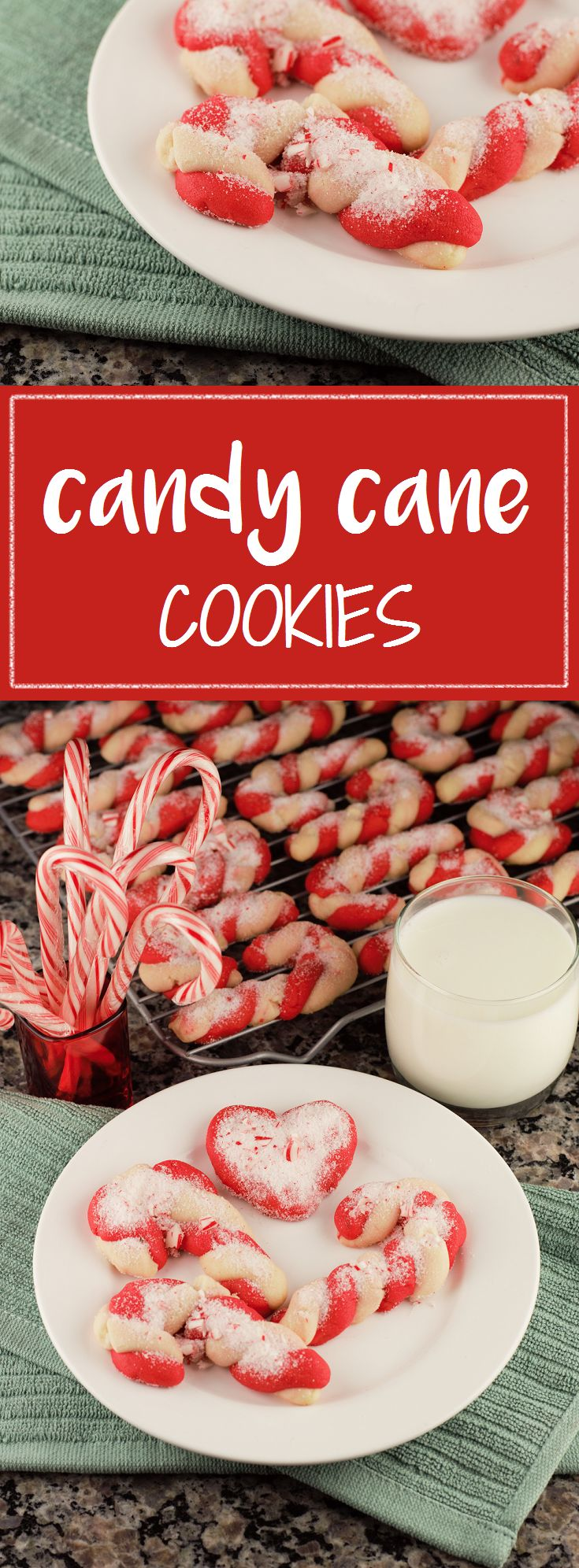 Shortbread-style Candy Cane Cookies topped with peppermint sugar are the perfect recipe for holiday cheer!