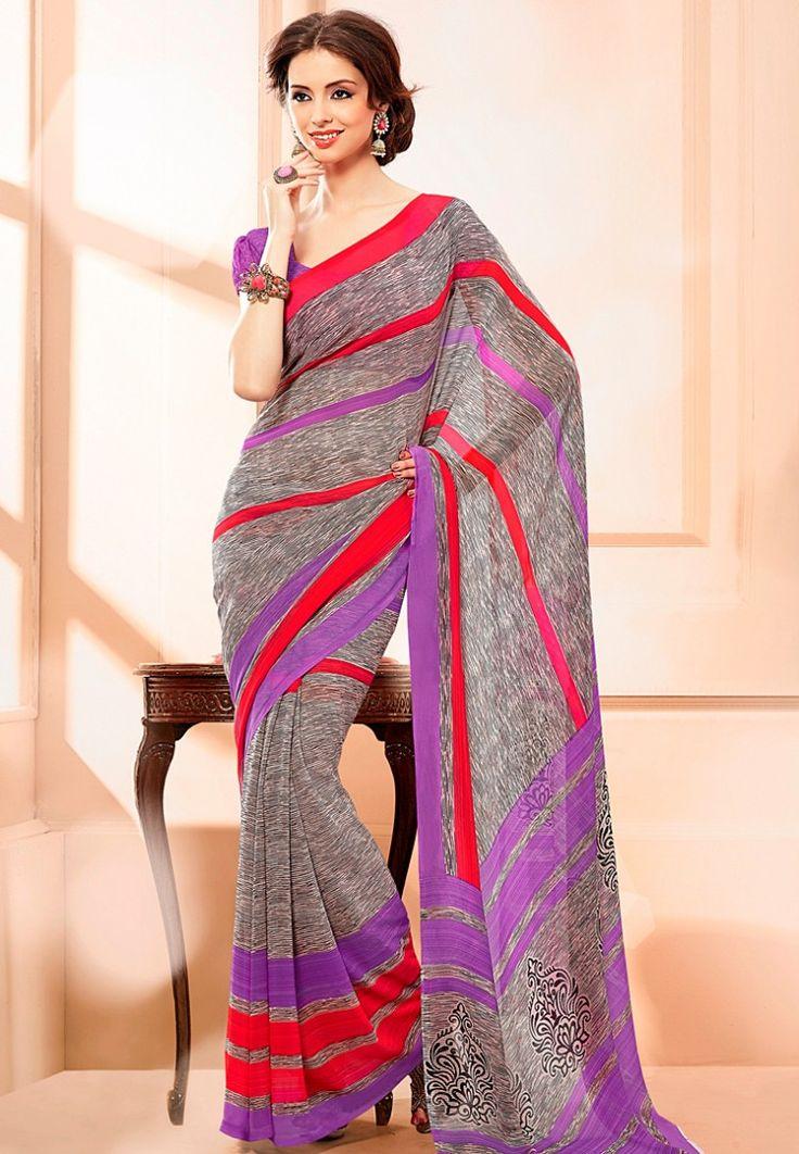 Red & Purple Elegant Printed Saree