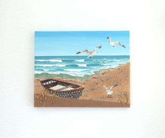 Acrylic Painting, Beach Artwork with Seashells and Sand, Boat & Seagulls in Seashell Mosaic on Sand, Mosaic Art, 3D Art Collage, Wall Decor, Home Decor #ArtworkwithSeashells #mosaiccollage #seashellmosaic #homedecor #walldecor #3D