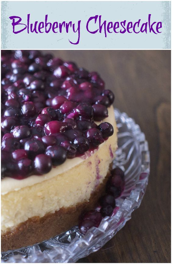 Blueberry Cheesecake - Delicious Dessert with blueberries on top of light and creamy cheesecake