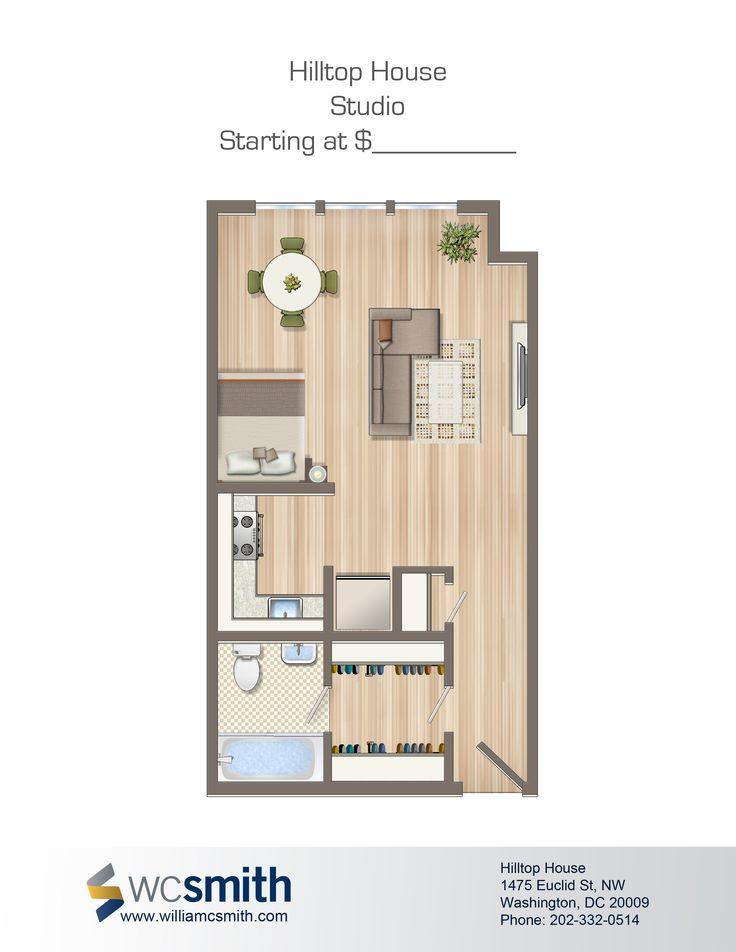 Studio/Efficiency Floor Plan | Hilltop House in Northwest Washington DC | WC Smith Apartments | Mount Pleasant Rentals