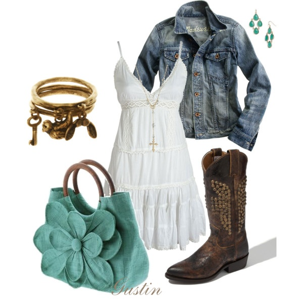 jean jacket, created by #gustinz on #polyvore. #fashion #style #Madewell #FryeCowboy Boots, Style, Jeans Jackets, Country Girls, Jean Jackets, Cute Outfit, Summer Night, White Dresses, Spring Outfit
