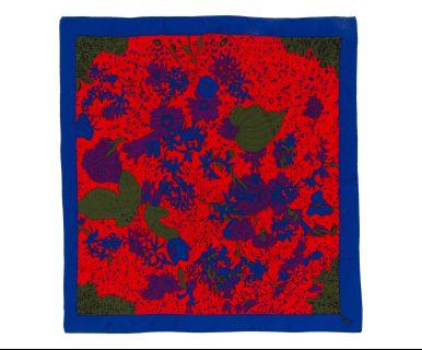 Foulard in seta tema fiori blu/rosso/verde