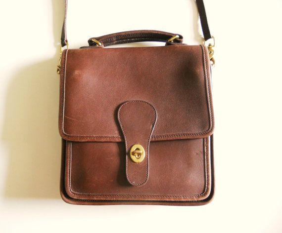 3b0ee53357 Vintage Coach Dark Chocolate Brown Leather Cross Shoulder Bag Purse ...