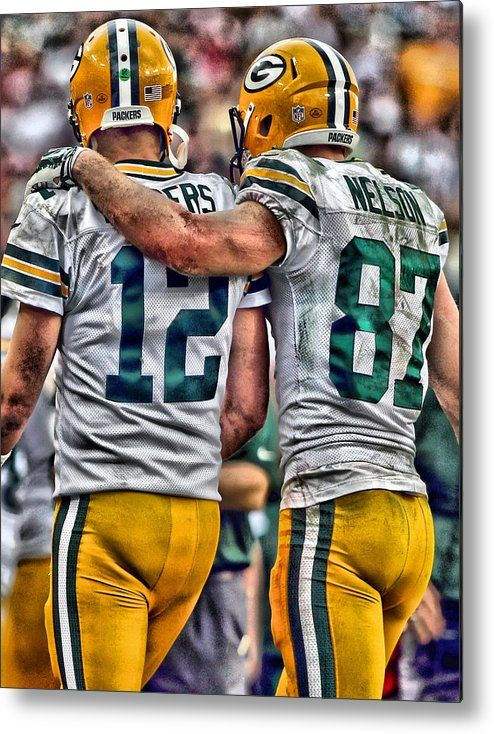 Aaron Rodgers Metal Print featuring the painting Aaron Rodgers Jordy Nelson Green Bay Packers Art by Joe Hamilton