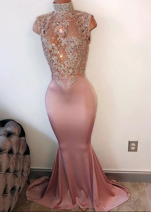 2017 Lace-Appliques Mermaid Modest Sleeveless Pearls High-Neck Prom Dress_2017 Prom Dresses_Prom Dresses_Special Occasion Dresses_High Quality Wedding Dresses, Prom Dresses, Evening Dresses, Bridesmaid Dresses, Homecoming Dress - 27DRESS.COM