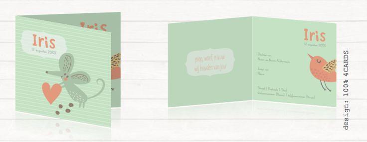 Hip geboortekaartje met een muisje #Lief en #hip #geboortekaartje met een #muisje op de voorkant. In verschillende #pastelTinten en een #streepPatroon op de achtergrond. Met een #vogel aan de binnenkant. Je kunt alle #ontwerpen #aanpassen in de #online #tool. #geboortekaartjeDieren #geboortekaartjeMaken
