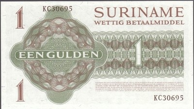 A Uncirculated 1974 One Gulden Bank note from Suriname