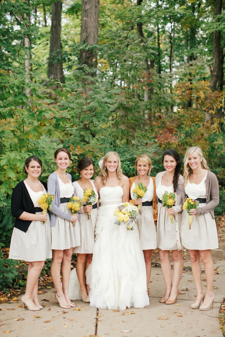 Best 10 contemporary bridesmaids dresses ideas on pinterest bridesmaid dresses a mixture of warm mustard yellow tones different shades of gray ombrellifo Choice Image