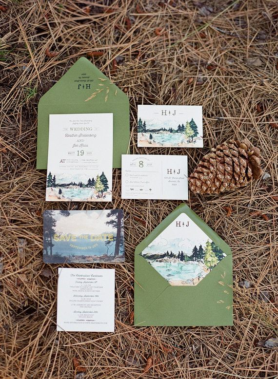 Rustic and Woodland Watercolor Wedding Invitation: Lake Tahoe