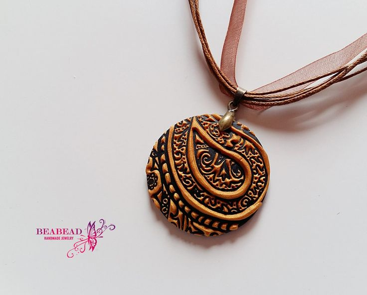 Polymer clay pendant, Polymer clay jewelry, polymer clay necklace, handmade jewelry with paisley pattern by Beabead on Etsy