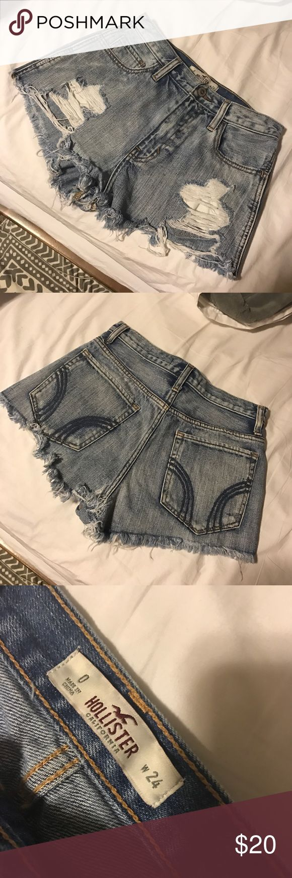 Cutoff jean shorts Hollister cutoff jean shorts. Never worn! (Too small) Hollister Shorts Jean Shorts