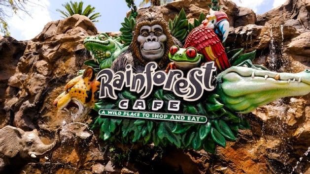 Caricatures of a gorilla, frog, alligator, iguana, leopard and parrot adorn a sign for Rainforest Café - pay out  of pocket