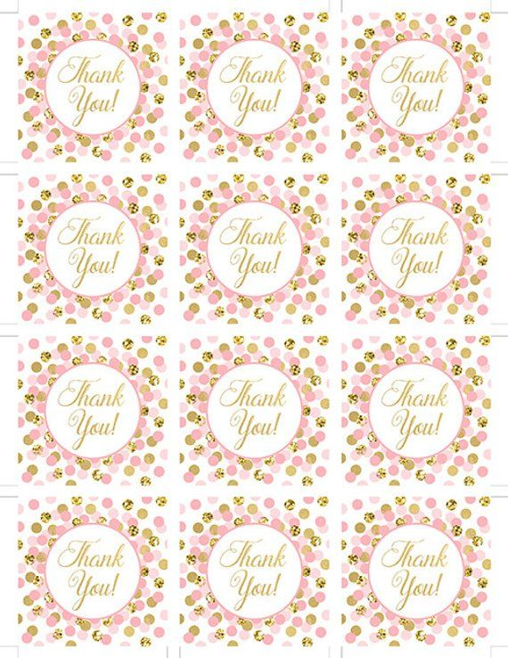 Pink And Gold Thank You Tags Printable Girl Birthday Party Favors