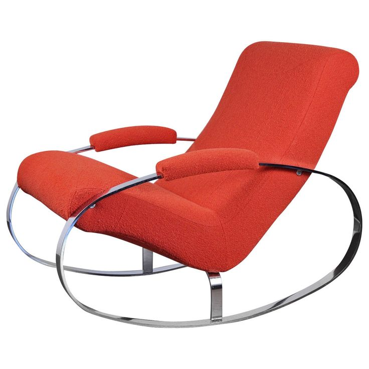 Modernist Chrome Milo Baughman Style Rocking Chair