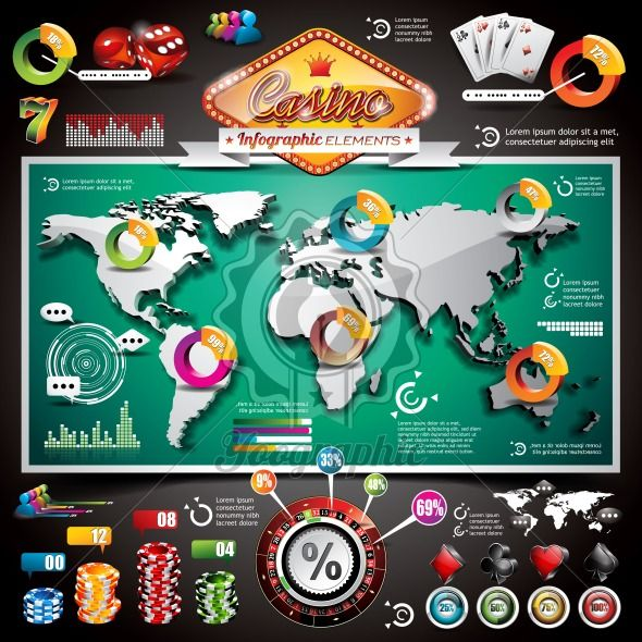 Vector Casino infographic set with world map and gambling elements. - Royalty Free Vector Illustration