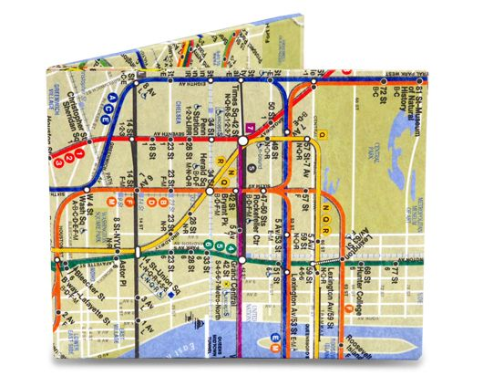 Gift Idea For Guys: NYC Subway Map Mighty Wallet.   Thin, Tough & Eco-Friendly Wallets. Many different Styles.