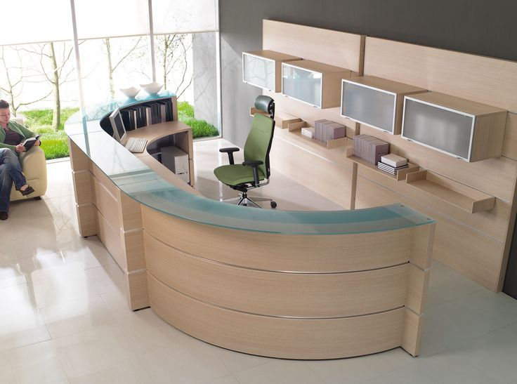 curved reception desk with storage