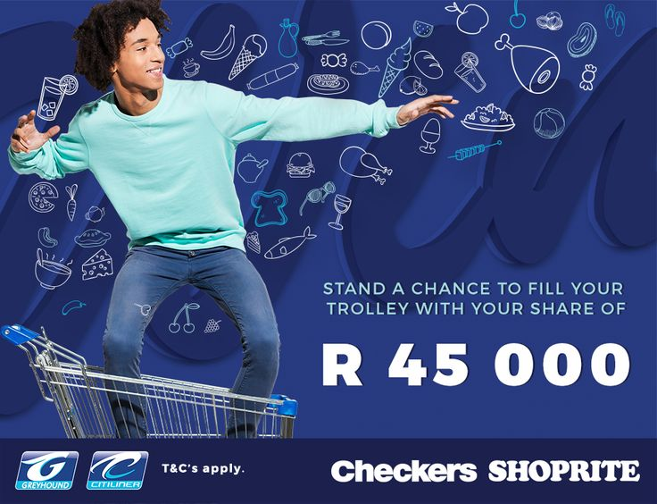 Dash over to a participating Shoprite or Checkers store and book your Greyhound ticket to stand a chance to fill your trolley in store with your share of R45 000! How to enter: - Book your Greyhound bus ticket at a participating Shoprite or Checkers store - SMS your name, surname and ticket reference along with the keyword 'CHECK' to 45211 What are you waiting for? Book today! T & C's…