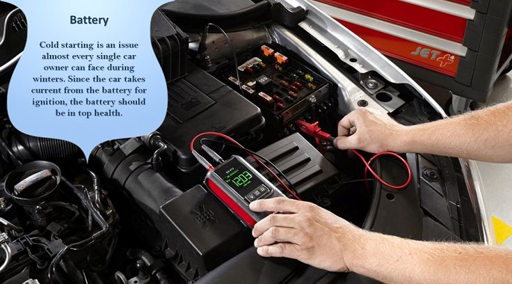 Battery Cold weather can be hard on your battery. Before temperatures dip, check the battery posts and connections to ensure they're free of corrosion. Check the water level in the battery, and if it's an older battery, consider having a mechanic test its ability to retain a charge. #wintertires