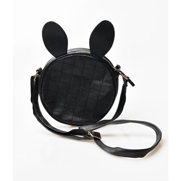 Black Quilted Leatherette Rabbit Ears Mini Crossbody Bag ($28) ❤ liked on Polyvore featuring bags, handbags, shoulder bags, black, quilted crossbody, mini shoulder bag, black cross body purse, crossbody handbags and crossbody shoulder bags