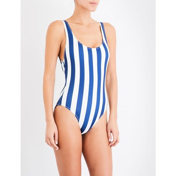 Solid & Striped The Anne-Marie striped swimsuit ($160) ❤ liked on Polyvore featuring swimwear, one-piece swimsuits, full coverage swimsuits, nautical one piece swimsuit, nautical bathing suit, bathing suit swimwear and scoop back one piece swimsuits
