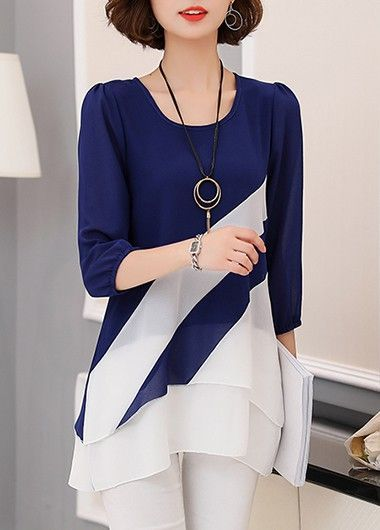 Three Quarter Sleeve Round Neck Layered Navy Blouse | Rosewe.com - USD $29.12