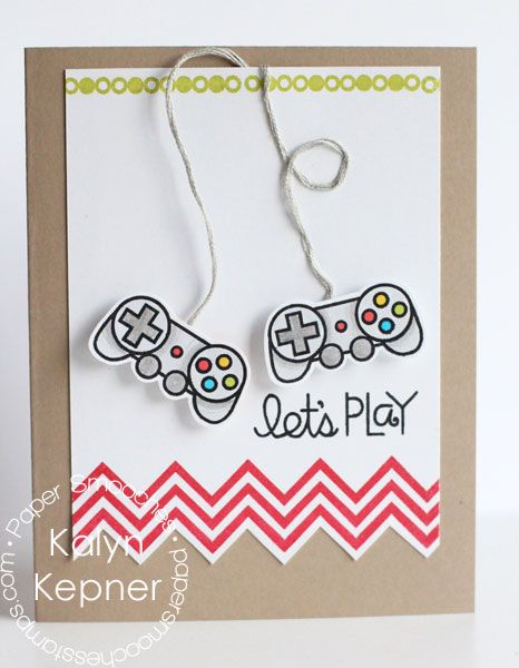 Card by PS DT Kalyn Kepner using the PS stamp sets Teen Routine and Geo-Graphic. Would be a cute card for my brother