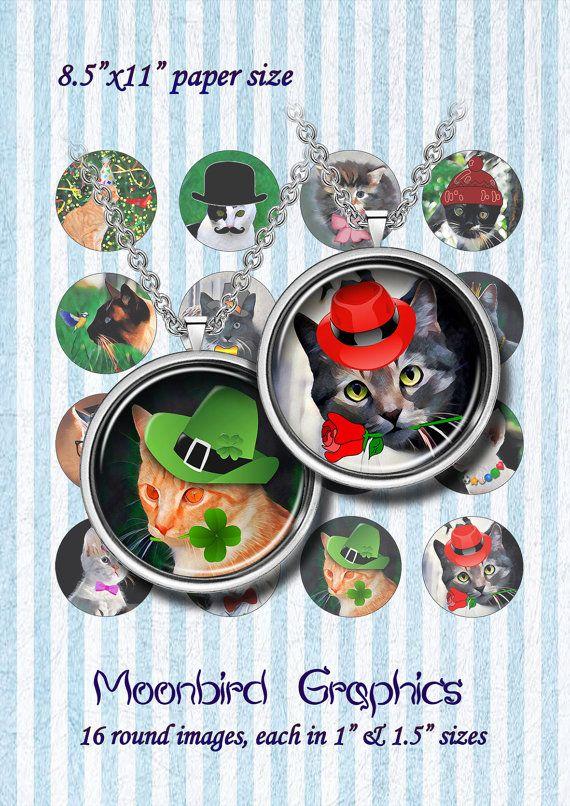 CATS  Digital Collage Sheet  1 & 1.5 circles  by MoonbirdGraphics