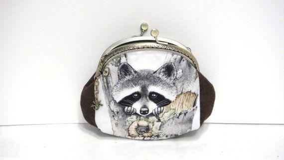 Framed purse wallet Grey raccoon Makeup от LeatherBagsBackpacks