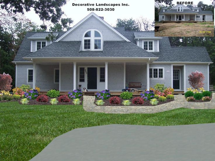 Front yard residential landscape design front of home for Garden design front of house