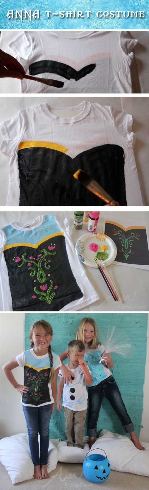 Sigue este tutorial para diseñar tu misma estas camisetas de Anna. #Frozen Tutorial by Brenda Ponnay for Alphamom.com
