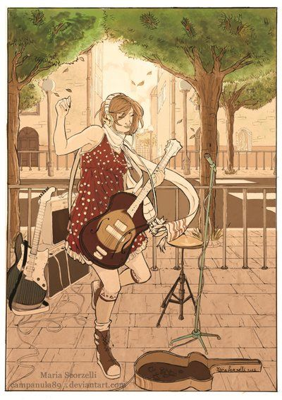 Ragazza con la chitarra, Maria  Scorzelli  on ArtStation at https://www.artstation.com/artwork/ragazza-con-la-chitarra