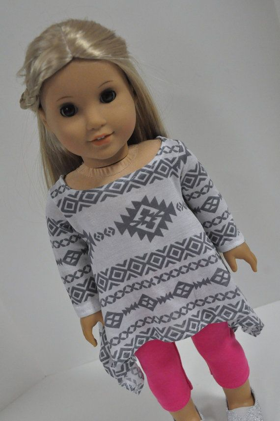 Gray and white Aztec tribal print tunic by CircleCsewing on Etsy. Made with the Twirly Tunic pattern, found at http://www.pixiefaire.com/products/twirly-tunic-18-doll-clothes. #pixiefaire #twirlytunic