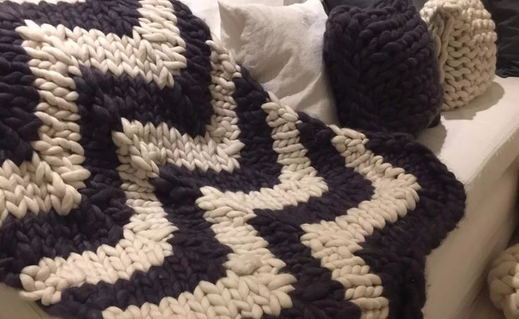 manta nordica chevron 100% lana merino, tejido xxl 150x100cm