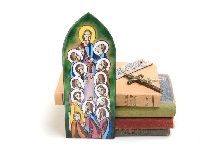 Cuadro esmalte de la Santa Cena, Jesucristo y los doce apóstoles, decoración católica de Brocantebcn en Etsy